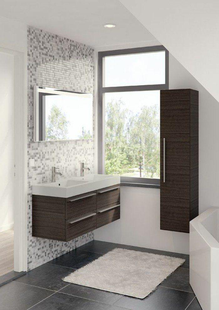 alinea salle de bain avec mur en mosaique blanc gris et sol en carrelage gris anthracite - Carrelage Gris Mur