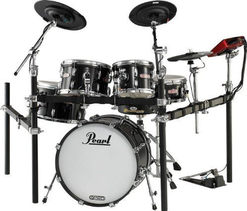 """Pearl E-Pro Live Electronic Acoustic Drum Set Black by Pearl. $1999.99. The Pearl E-Pro Live Electronic Acoustic Drum Set includes a 22"""" x 12"""" kick; 10"""" x 6-1/2"""", 12"""" x 7"""", and 14"""" x 8"""" rack toms; 14"""" x 4-1/2"""" snare; 12"""" EPC2 crash; 3-zone EPC2 14"""" ride; and a set of EPC2 12"""" hi-hats.Pearl e-Pro Live is a revolutionary electronic drum set that looks, feels, and sounds like real acoustic drums. Never before has today's drummer been offered the limitless sonic ca..."""