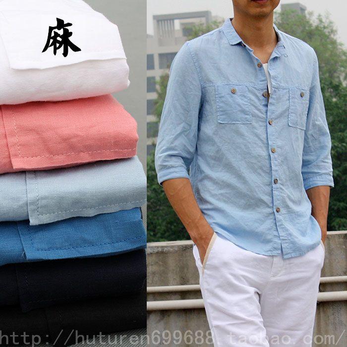 Купить Корейская версия тонкий летом льняные рубашки мужские случайные воротник 7 рукава белая рубашка рукава хлопок и лен дюймовый одежда прилив из категории Мужские рубашки на Kupinatao.com