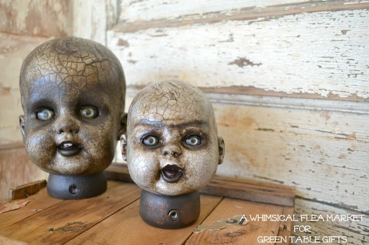 HOW TO make Spooky Vintage Doll Heads! 31 days of Halloween crafting! lela.myitworks.com facebook.com/wraptolose