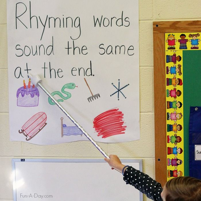 Rhyming anchor chart - a simple way to teach important reading readiness concepts in preschool and kindergarten
