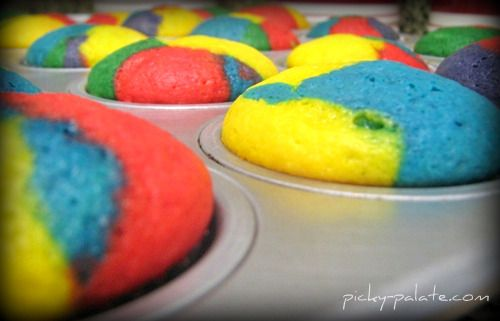 Rainbow Bright Cupcakes. Happy 2nd Birthday Picky Palate!