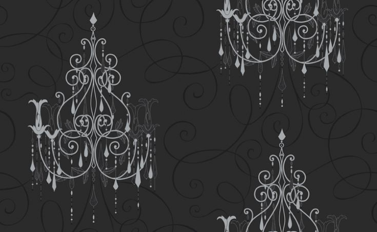 Chandelier (M0238) - Vymura Wallpapers - Drawn in metallic silver on a soft feel black textured curlicue covered background, chandeliers dripping with silver glitter jewels, a breathtaking design. Co-ordinating papers available. Also in white. Please ask for a sample for true colour match.