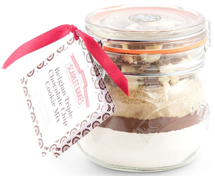 BELGIAN TRIPLE CHOCOLATE CHIP COOKIE MIX by Scarlet Bakes Straight from a handy jar, just add some butter and eggs!