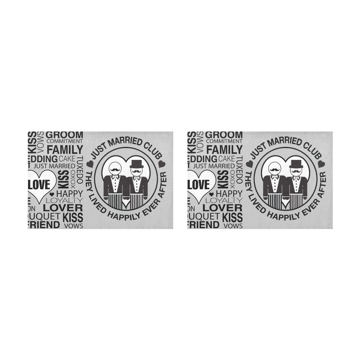 Wedding Gift Placemat Set Groom Lgbt Just Married Print Grey Placemat 12'' x 18'' (Two Pieces)
