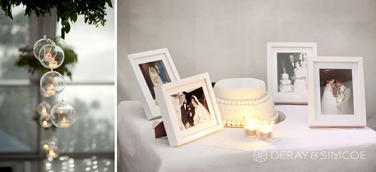 Picture frames of Bride and grooms parents' weddings. Cake table. Floating candles in glass candle holders. Woodland themed wedding reception styling, ideas and inspiration.  Reception Venue: The Quarry Amphitheatre Photography by DeRay & Simcoe