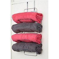Hook-Over Door Towel Rack Chrome