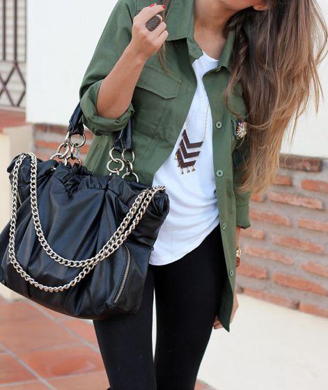 Military jackets & Chevron Necklaces.