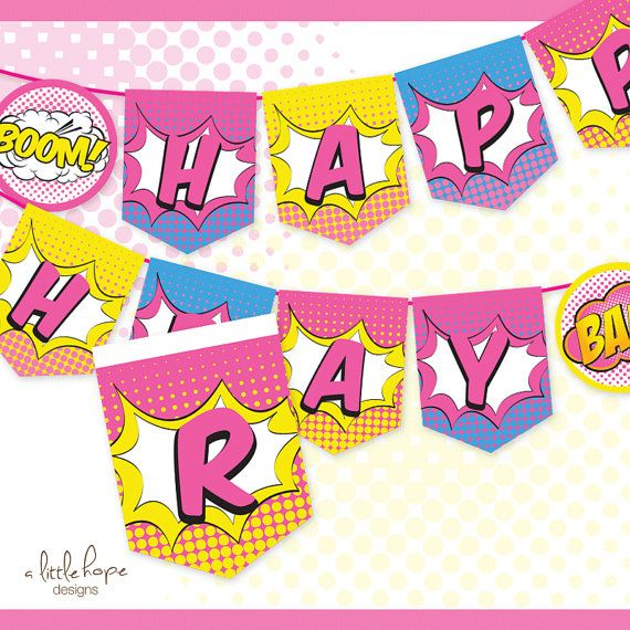 INSTANT DOWNLOAD This Listing Is For A Printable SUPERHERO GIRL HAPPY BIRTHDAY BANNER Fun