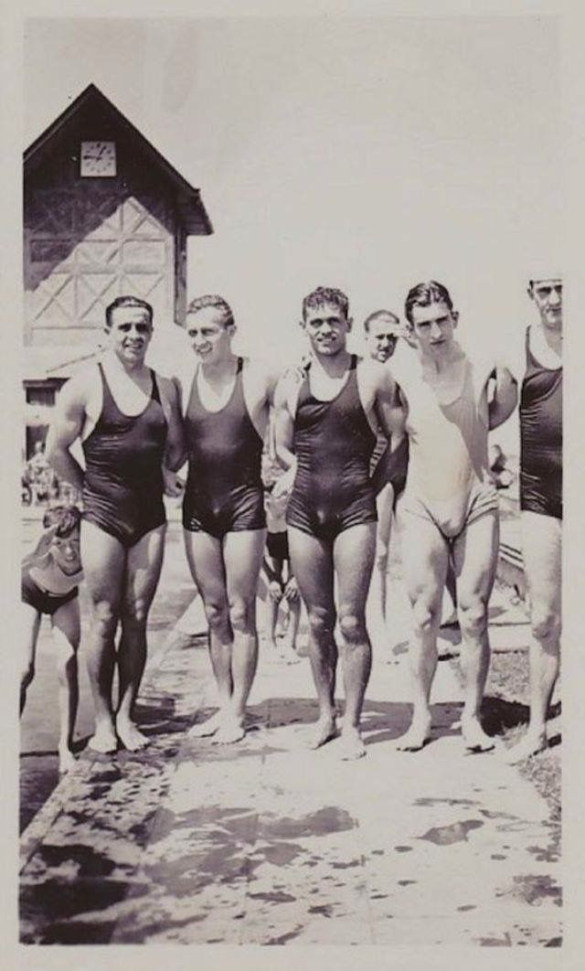 Four men in vintage swimwear, circa 1910s. | Vintage