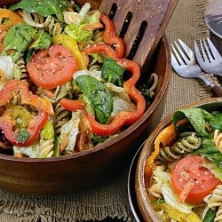 Easy Italian Summer Salad - pretty good - didn't have all the seasoning mixes, which might make it pop more.