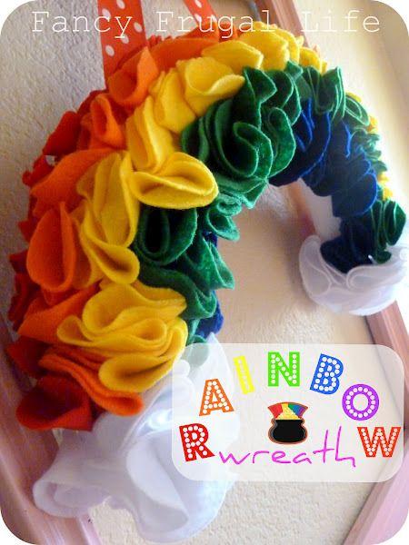 Felt rainbow wreath