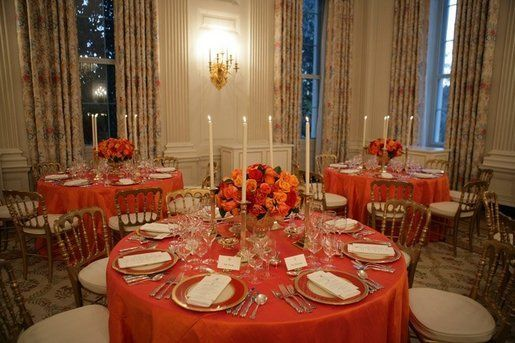 orange and gold table setting