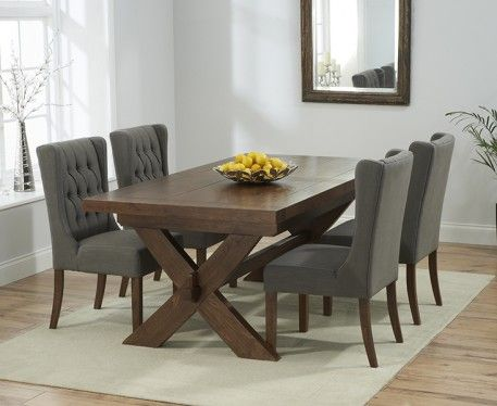 Buy the Bordeaux 200cm Dark Solid Oak Extending Dining Table with Safia Chairs at Oak Furniture Superstore
