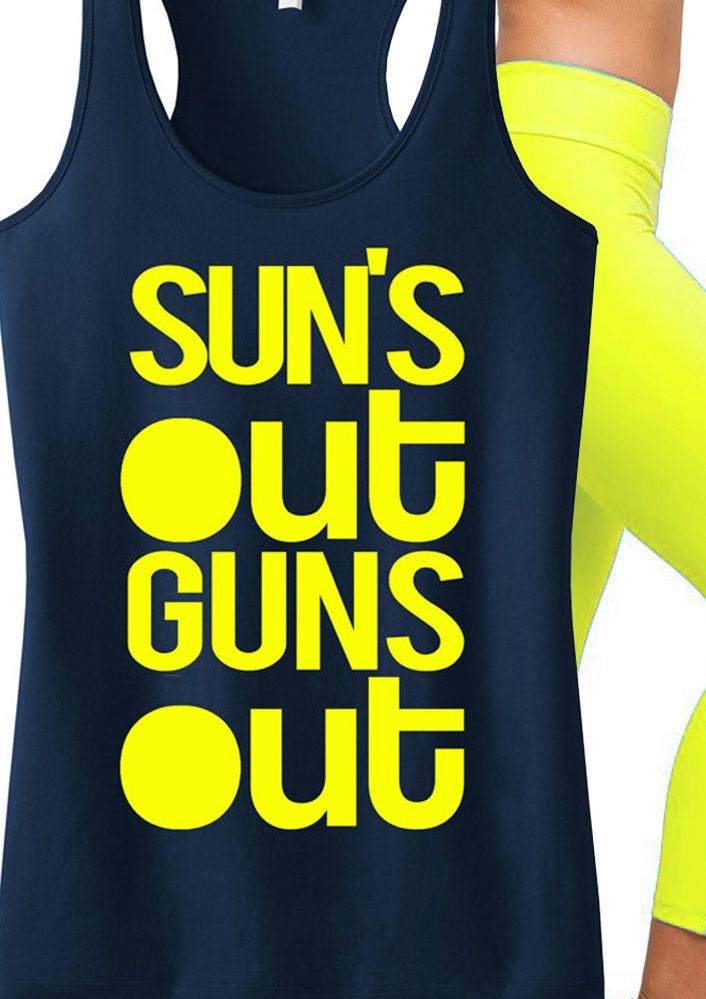 Awesome #Workout tank for #Summer! SUNS OUT GUNS OUT tank by #NoBullWomanApparel. Only $24.99. Click here to buy http://nobullwoman-apparel.com/collections/fitness-tanks-workout-shirts/products/suns-out-guns-out