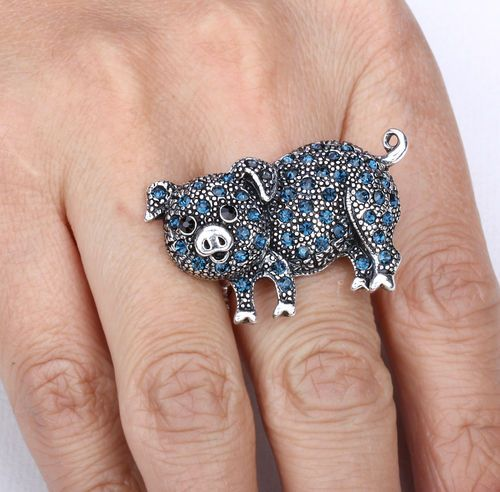 Dark Blue Crystal Pig Stretchy Ring Jewelry Buy 10 Items Free Shipping | eBay