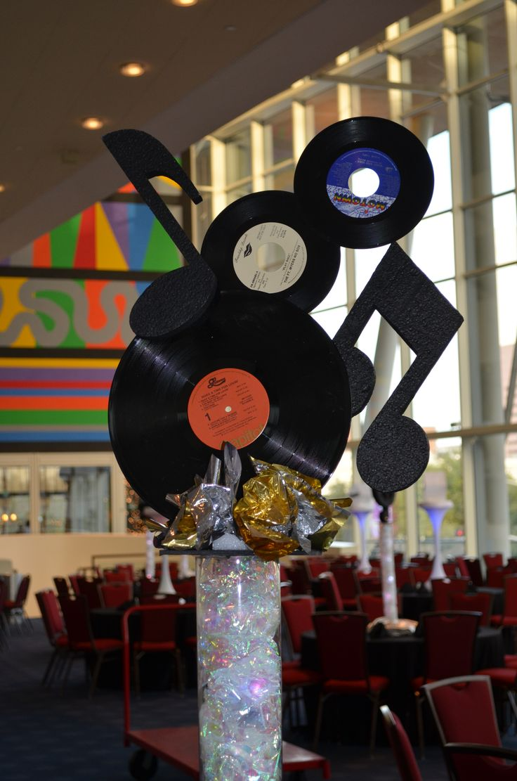 Music/Rock & Roll Centerpiece by Ideal Party Decorators - www.idealpartydecorators.com