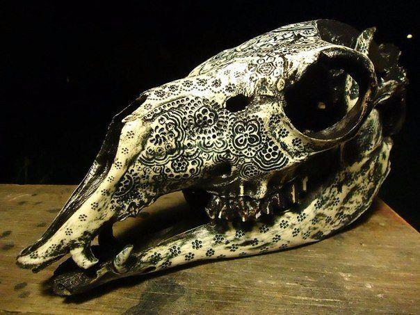 Американец Джейсона Бордеса занимается необычным творчеством. Он выполняет резьбу на костях животных. Сложные витиеватые узоры напоминают традиционные индийские свадебные татуировки Менди. Вначале мастер вырезает орнамент, а затем разрисовывает его. Только использует он не хну, а чернила.