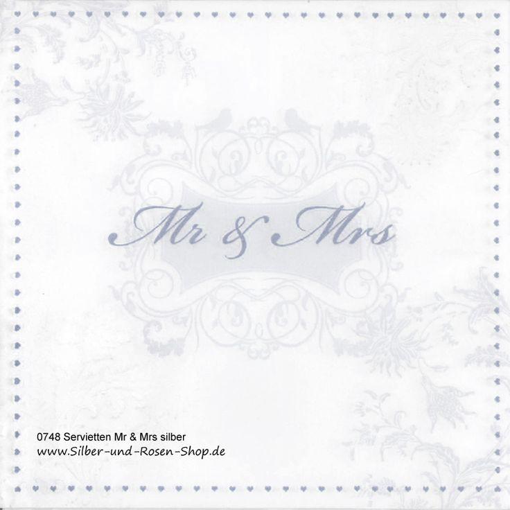 16 Papierservietten Mr & Mrs silber