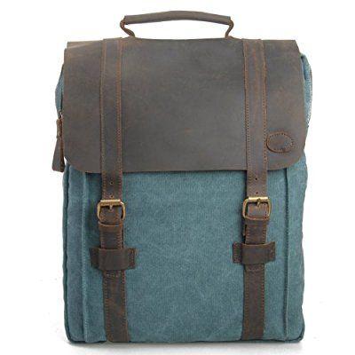 Estarer Zaino scuola College università per computer portatile di tela e pelle vintage Blu