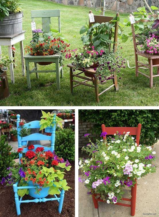 Chairs transformed into flower boxes – #garden #ga …