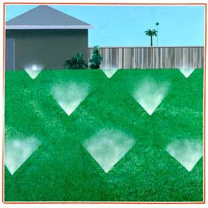 David Hockney - A Lawn Being Sprinkled, 1967  acrylic on canvas,  60x60 in.