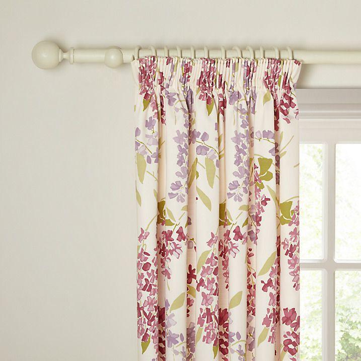 Buy John Lewis Wisteria Lined Pencil Pleat Curtains, Pink / Purple, W167 x Drop 137cm Online at johnlewis.com
