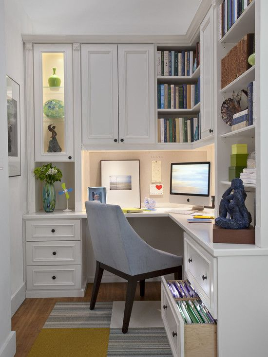 Family Room home office components (image shown for components only, wood finish to be natural): bulletin board (can accommodate panel to conceal as needed), integrated lighting, files drawers, work surface, combination of open, closed and glass-door shelving