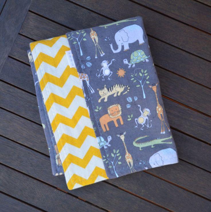 Grey & Yellow Flannelette Animal/Chevron Baby Blanket 114x100cm by TheOwlandStar on Etsy https://www.etsy.com/listing/243208097/grey-yellow-flannelette-animalchevron