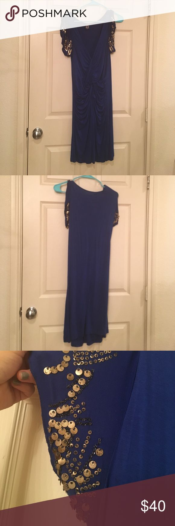 Blue dress Figure hugging jersey material, really sexy when on. Free People Dresses