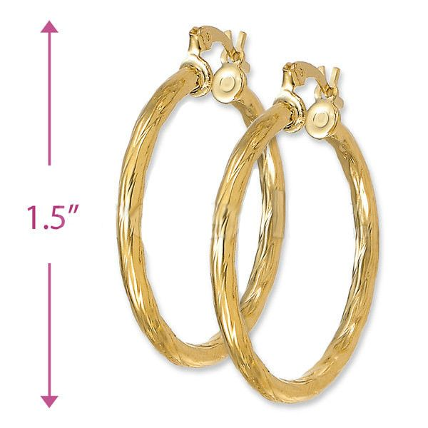 "38MM 1.5"" Yellow Gold Filled Ladies Textured Hoop Earrings 4MM Thickness"