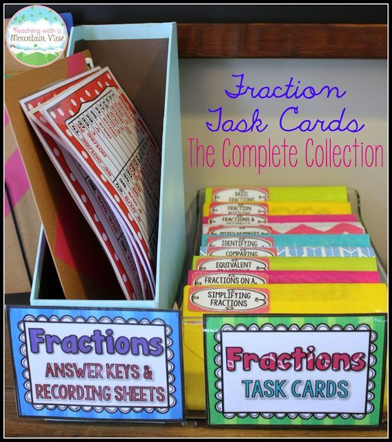 Task cards are the perfect resource for math workshop and small groups, and this set includes all the fraction task cards you could possibly need!