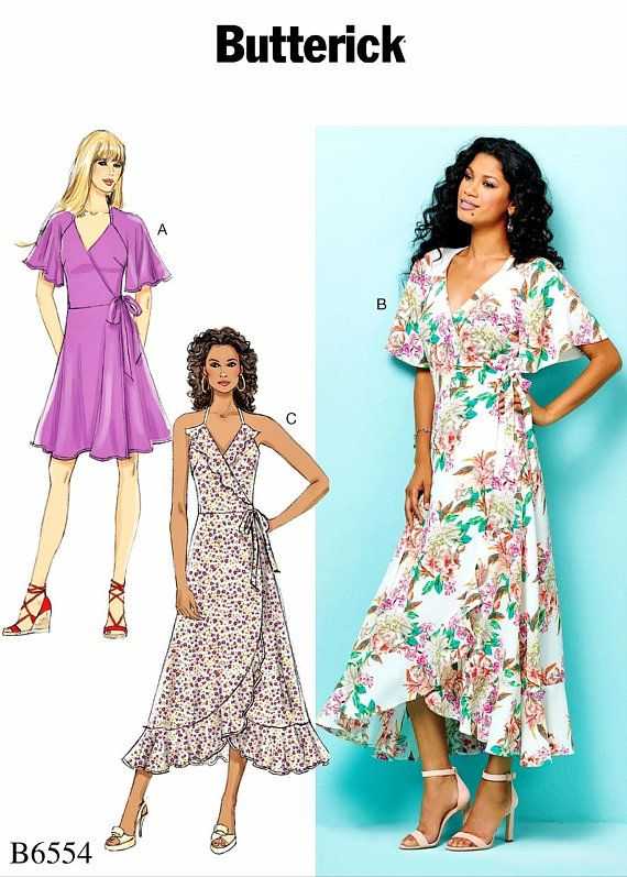 f86470014c3b9 Sewing Pattern Women's Dress Pattern, Women's Wrap Dress Pattern, Halter  Sundress Pattern, Butterick Sewing Pattern 6554