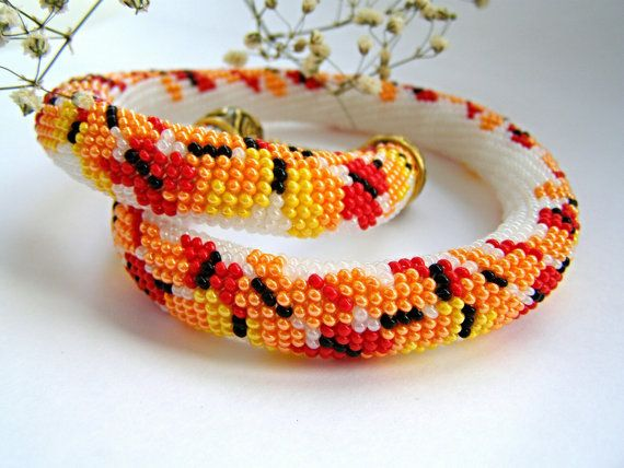 Statement Bead Crochet Necklace with orange yellow red buterflies Multicolor beaded rope necklace Stylish Beaded Choker Birthday Gift