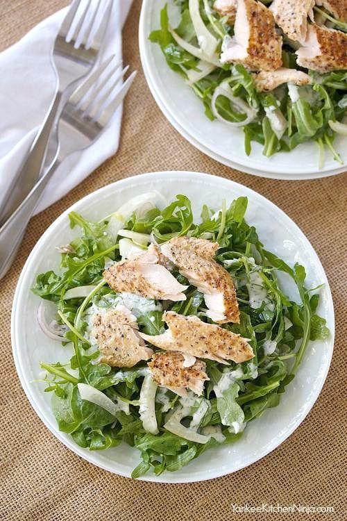 Elegant but easy smoked trout salad with arugula and fennel | yankeekitchenninja.com