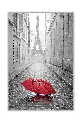 BLACK AND WHITE PHOTO PARIS EIFFEL TOWER WITH RED UMBRELLA CANVAS WALL ART PRINT