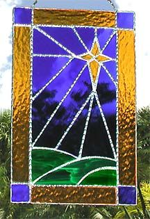 "Star of Bethlehem Christmas Stained Glass Suncatcher Design - 7"" x 12"" - $39.95 - From Accent on Glass  - www.accentonglass.com"