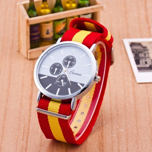 3 Pack Nylon With Fake Three Thin Watches Geneva (Colour  Red and yellow) 67c5f3d0b6b51