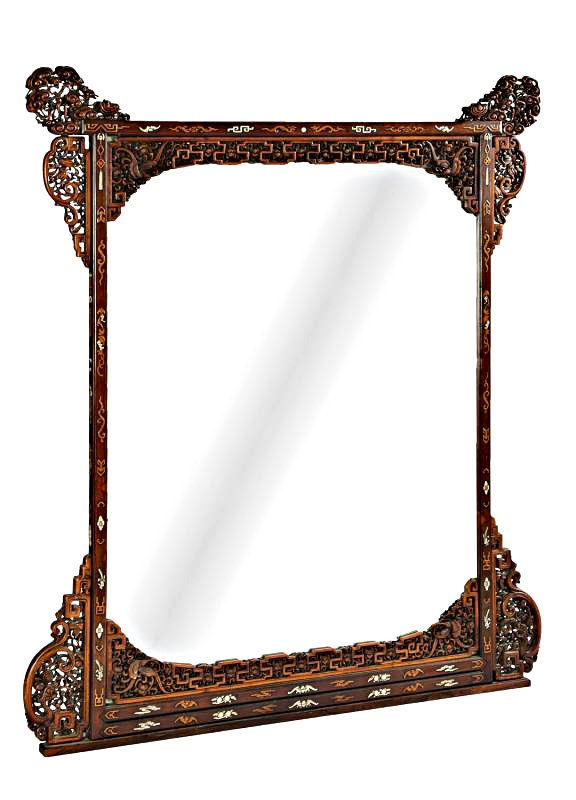 Graham Geddes Antiques - A Large Chinese Huanghuali Wall Mirror, Qing Dynasty, Call (03) 9509 0308 or send an enquiry grahamgeddes@grahamgeddesantiques.com (http://shop.grahamgeddesantiques.com.au/a-large-chinese-huanghuali-wall-mirror-qing-dynasty/)
