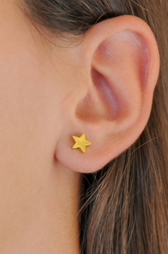 Silver star studs 925 sterling silver Gold star studs Small