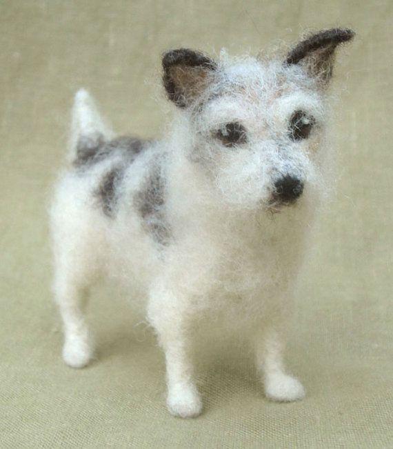 Nadel Filz-Poseable Miniatur-Skulptur Ihres Hundes. (Jack Russell)