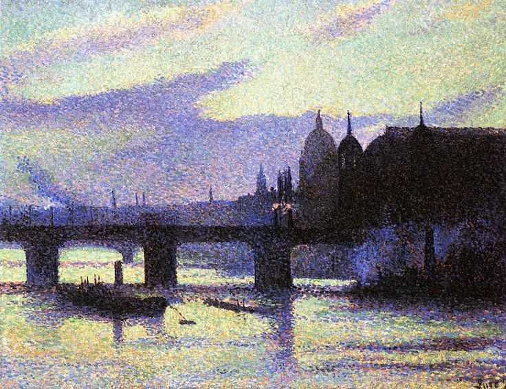 Maximilien Luce - View of London (Cannon Street) (1893). Neo Impressionism