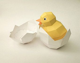 DIY Cute Yellow Chick in hatched Egg, home decor, DIY papercrafts, 3d puzzle, Papercrafts, Paper models, Baby Chicken, origami, lowpoly art