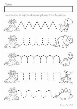 Dinosaur Preschool Math and Literacy No Prep worksheets and activities. A page from the unit: pre-writing tracing practice.: