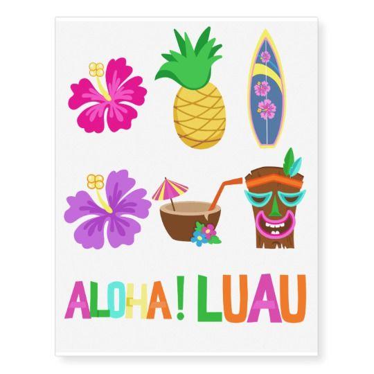Kids Hawaiian Luau Party Temporary Tattoos