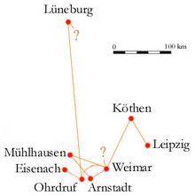 Johann Sebastian Bach - Ciudades donde vivió.