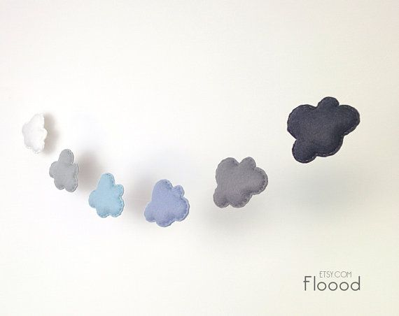 Cloud Garland Grey Nursery Decor Felt Clouds Bunting by BubblyMoon