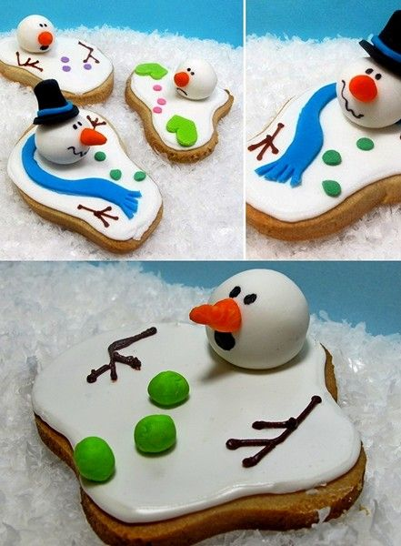Unusual food for the holiday table. Browse creatively decorated with Christmas dishes: Christmas Foods, Snowmen Cookies, Christmas Cookies, Food Ideas, Melted Snowman Cookies, Melted Snowmen, Creative Christmas Food Design, Christmas Dishes, Cute Cookies