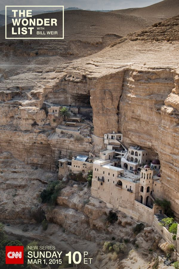 The cliff-hanging St. George's Monastery in Israel. Photographed by Philip Bloom during a visit to Wadi Qelt for CNN's new show The Wonder List with Bill Weir – Sundays at 10pm ET on CNN, starting March 1, 2015