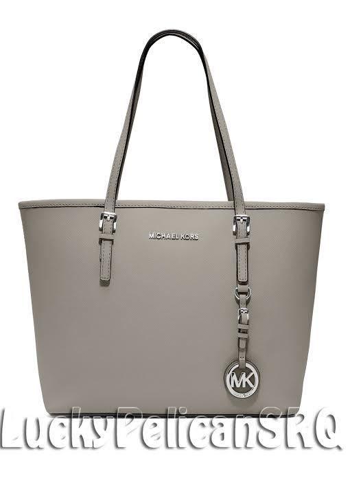 380281b194dd ... sale michael kors pearl grey saffiano jet set small travel tote bag  handbag nwt . 1b3ca